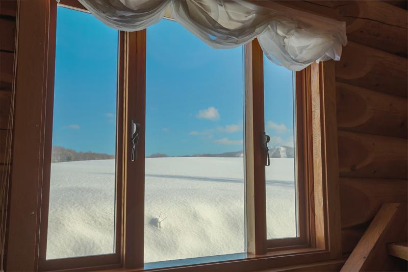 レストランの窓から見える風景写真